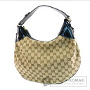 Authentic GUCCI  GGpattern Hobo Shoulder bag Canvas Leather