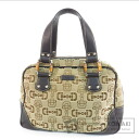 Authentic GUCCI  Bamboo bit pattern Outlet Handbag Canvas Leather