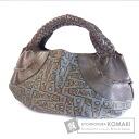 Authentic Salvatore Ferragamo  Weave logo pattern Shoulder bag Nylon Leather