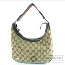 Authentic GUCCI  GG pattern webbing line Shoulder bag Canvas Leather