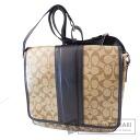 Authentic COACH  F71102 Signature Stripe Shoulder bag PVC Leather