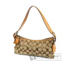 Authentic COACH  6371 Signature Sofutodemi Shoulder bag Canvas Leather