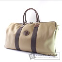 Authentic HUNTING WORLD  Logo double zipper Boston bag Canvas x Leather