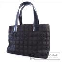 Authentic CHANEL  New Travel Line P Shoulder bag Nylon jacquard x Leather