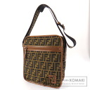 Authentic FENDI  Zucca pattern hung diagonally Shoulder bag Nylon Leather