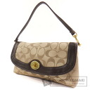 Authentic COACH  F50184 Campbell Signature Shoulder bag Satin Leather