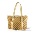 Authentic GUCCI  GG pattern webbing line Tote bag Canvas Leather