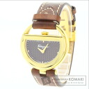 Authentic Salvatore Ferragamo Back Luco collection Watch Gold Plated Leather  Men