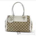 Authentic GUCCI  GGpattern flower motif Handbag Canvas x Leather