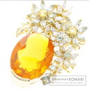 SELECT JEWELRY K18 fire opal and diamond pendant yellow gold ladies