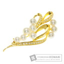 Authentic MIKIMOTO  Pearl Pearl / Diamond Brooch 18K yellow gold