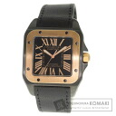 Authentic CARTIER Santos 100m Watch stainless steel Leather  Men