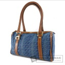 Authentic GUCCI  G design mini Boston Shoulder bag Denim Leather