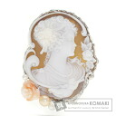 Cameo Coral Freshwater Pearl Pearl Brooch 18K White Gold  15.3