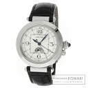 Authentic CARTIER Pasha Watch stainless steel Leather  Men