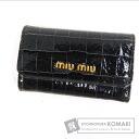 Authentic MIUMIU  Design embossed Key case Patent leather