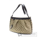 Authentic GUCCI  GGpattern gathered seat angle Shoulder bag Canvas Leather