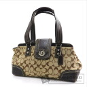 Authentic COACH  F13975 Hamptons Signature Shoulder bag Canvas Leather