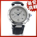 CARTIER Pasha 38 mm watch SS / leather men's