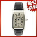 CARTIER tank American LM watch K18WG/ leather men