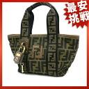 FENDI caked handbag Nylon canvas x leather unisex