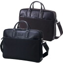 Business bag briefcase men HIDEO WAKAMATSU hideo wakamatsu nylon X cowhide Chester round fastener A4 storing medium size 10P10Nov13