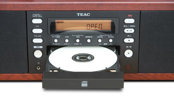 TEAC LP-R550USB-WA 木目調 ターンテーブル/カセット付きCDレコーダー CD開閉