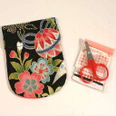 Old cloth pattern sewing kit spring Cap Black Japanese Chirimen/accessories / gifts