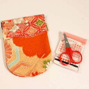 Old cloth pattern sewing kit spring Cap Orange Japanese Chirimen/accessories / gifts