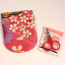 Old cloth pattern sewing kit spring Cap Pink Japanese Chirimen/accessories / gifts
