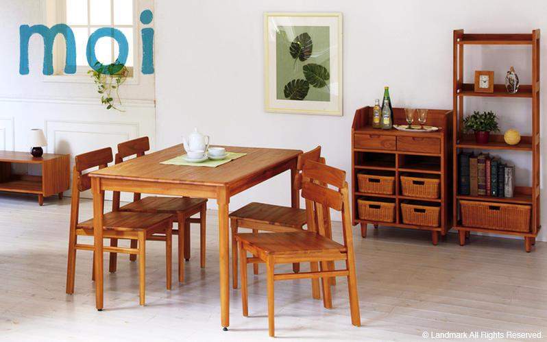 moi(モイ)シリーズ。北欧モダンテイストなオレンジカラーのチーク家具シリーズです。