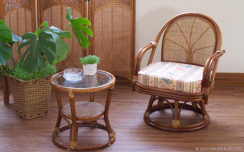籐回転椅子 スタンダード ハイタイプ 座面高36cm 選べる座面クッション プリント柄
