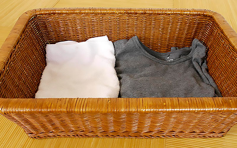 浴室、脱衣場、客室、洗濯物のランドリーバスケットに。おすすめのラタンバスケットです