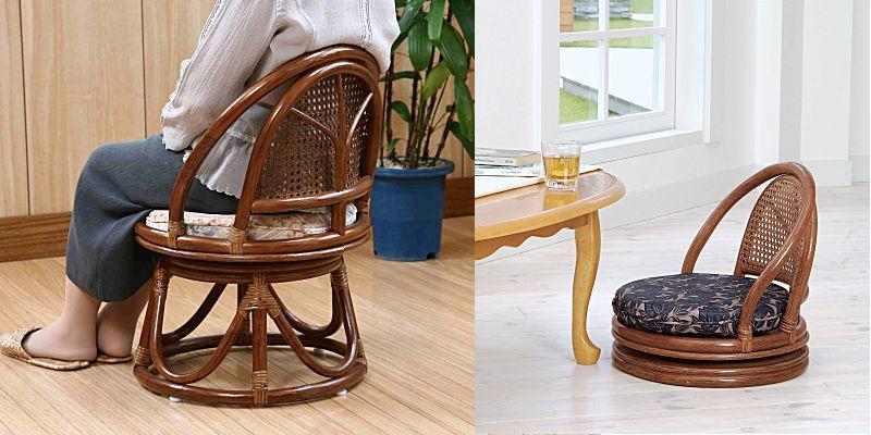 しなやかで丈夫なラタンフレームの籐回転座椅子