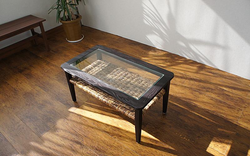 バナナリーフテーブル ウォーターヒヤシンス 机 アジアン家具