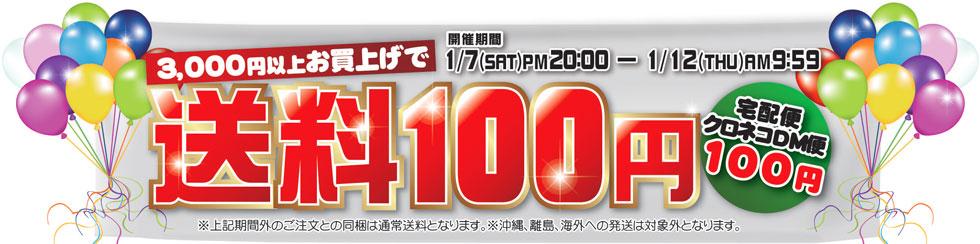 1月7日20:00から1月12日9:59まで3,000円以上お買上げで送料100円