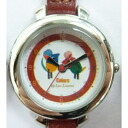 -Watch, round leather belt (red) ★ Frederic ★