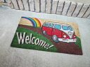 Coconut door mat VW bus welcome (red) Coco-mat / Matt Colyer mat