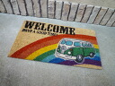 Coconut door mat VW bus welcome (green) Coco-mat / Matt Colyer mat