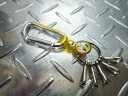 "Mooneyes ""moon Eyes, American metal hook Keychain (yellow) karabiner and keychain hot rod key key car custom"