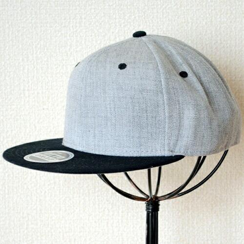 帽子/キャップ(フラットバイザー/ウール) オットー Otto 無地(ブラック×ヘザーグレー)