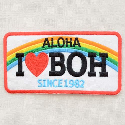 ハワイアンワッペン Aloha アロハ I love BOH(虹/レクタングル) MTW-055