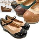 レデイース thickness bottom pumps casual shoes punching design ストラップパンプスレデイース ladies pumps●