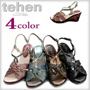 All strap sandals wedge sole four-colored さんだる sandal with sandals wedge sole Lady's sandals tehen[TN6403] テーンレディースラメ ●