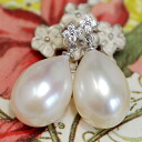 A best quality 10mm white drop freshwater pearl pierced earrings ぷるんとてりてりの size ball pearl! The drop pearl which I shake, and is pretty