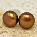 8 mm Brown freshwater pearl earrings and Earring Teletel moist sweet chocolate color