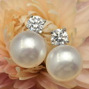 Dainty grain Pearl and zirconia sparkle with elegant ear! 8 mm white freshwater pearl & zirconia earrings