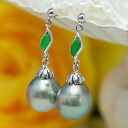For the accent that size of the 11mm drop black butterfly pearl & jade pierced earrings force and deep green are stylish♪