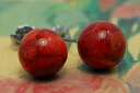 Works in the presence of very large Pearl and passionate Red 10 mm round Pearl African coral earrings