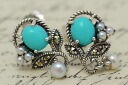 Turquoise & シードパールピアス/earrings chic and charming antique design